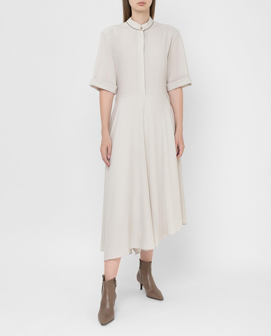 Brunello Cucinelli Светло-бежевое платье из шерсти изображение 2