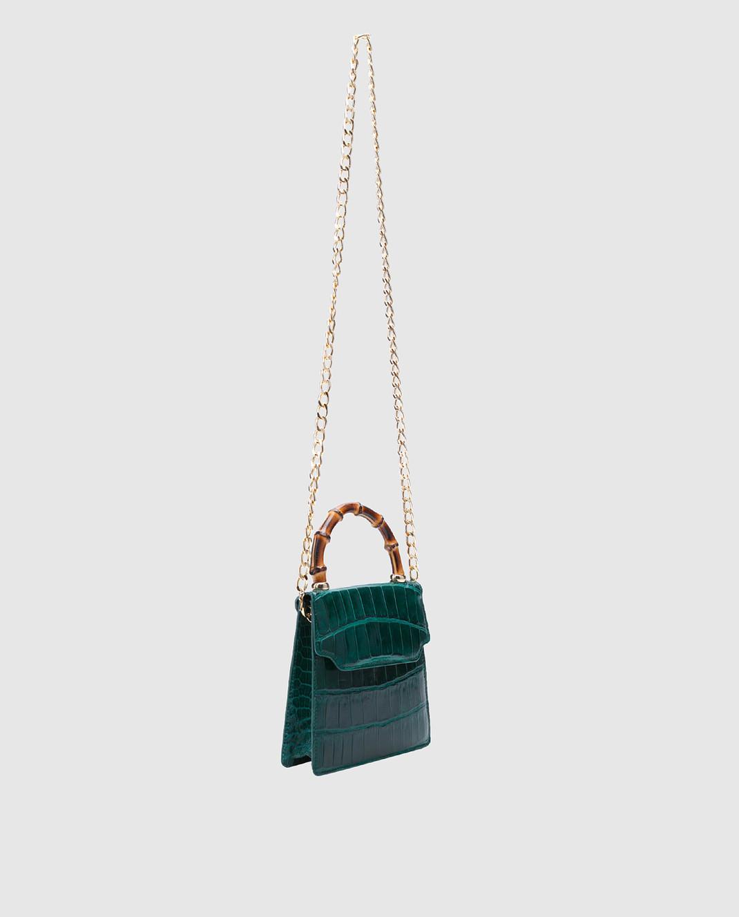 Bochicchio Зеленая кожаная сумка CROCOCLUTCH3 изображение 3