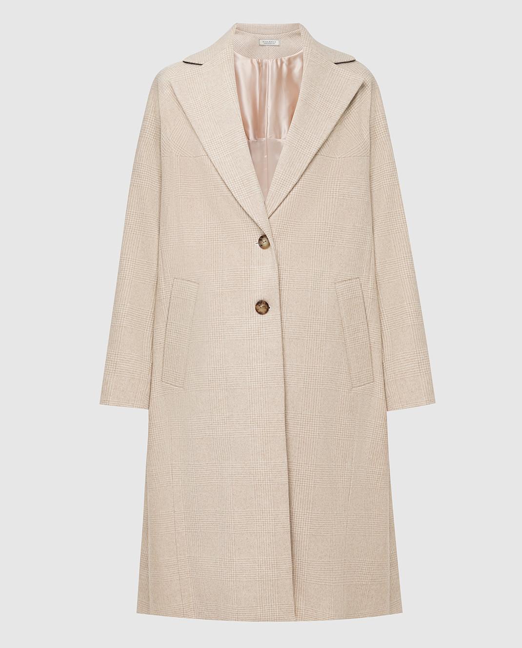 NINA RICCI Светло-бежевое пальто из шерсти изображение 1