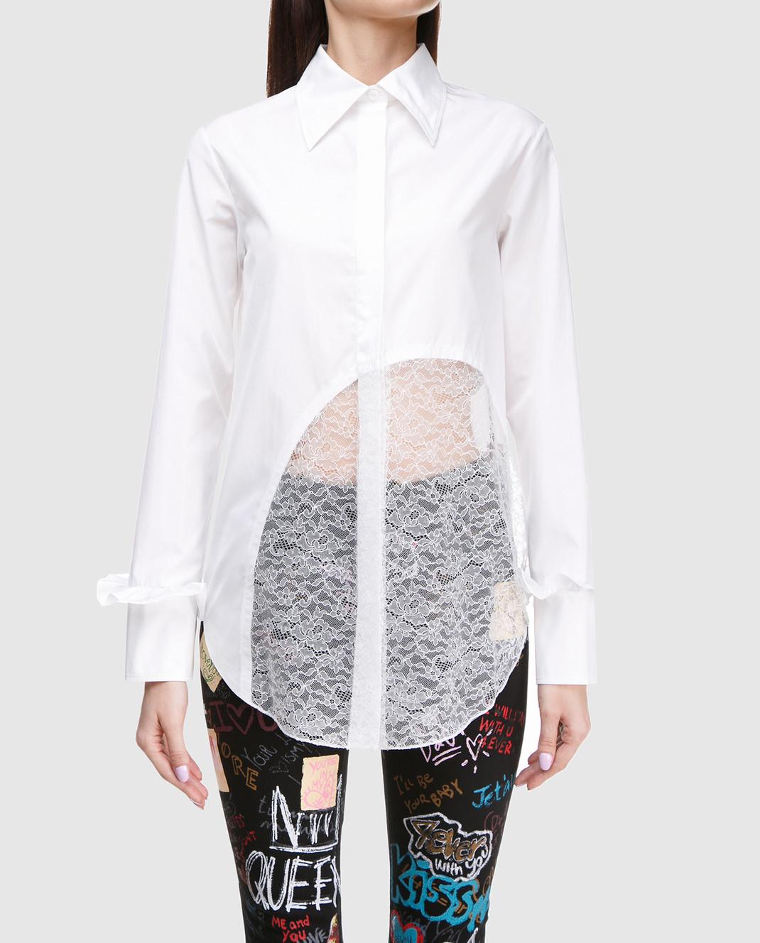 NINA RICCI Белая рубашка с кружевом 17ACT0027C00844 изображение 3