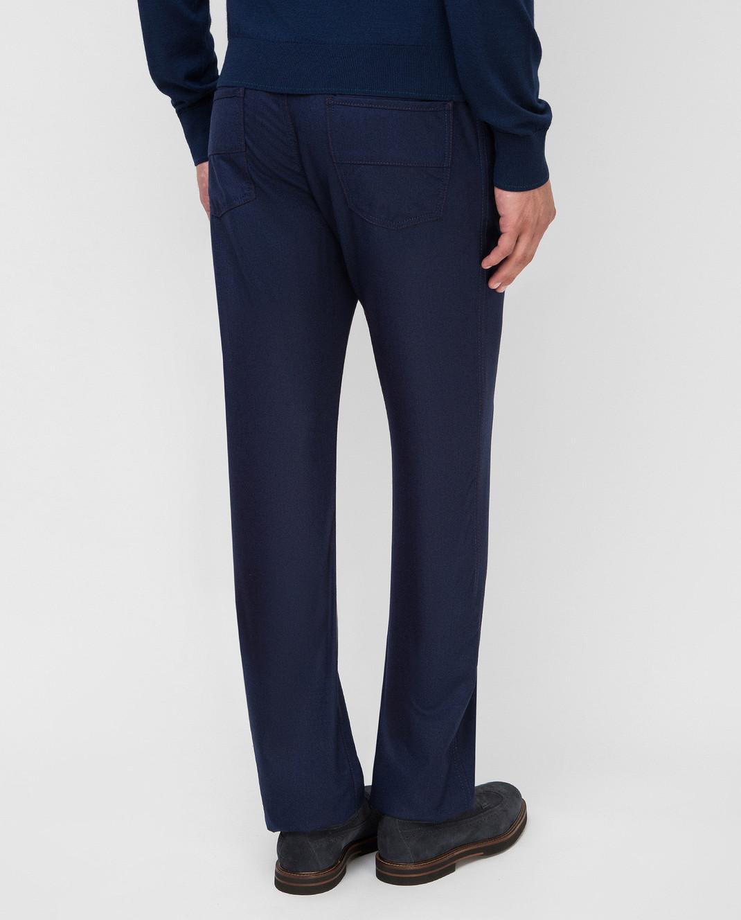 Castello d'Oro Темно-синие брюки из шерсти изображение 4