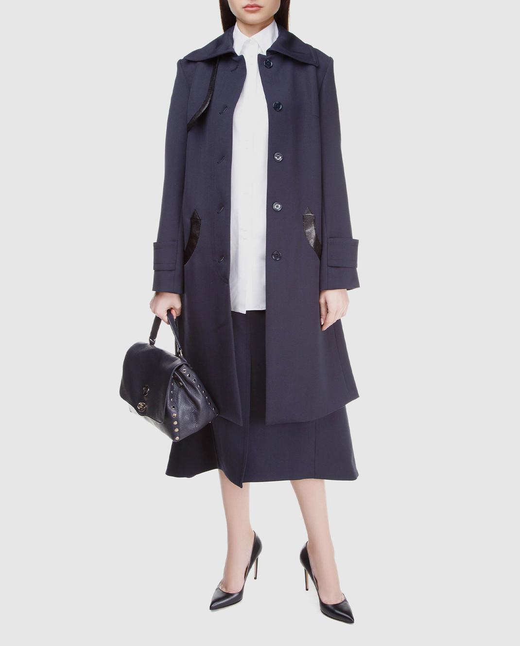 NINA RICCI Темно-синее пальто из шерсти 17HCMA016WV0220 изображение 2