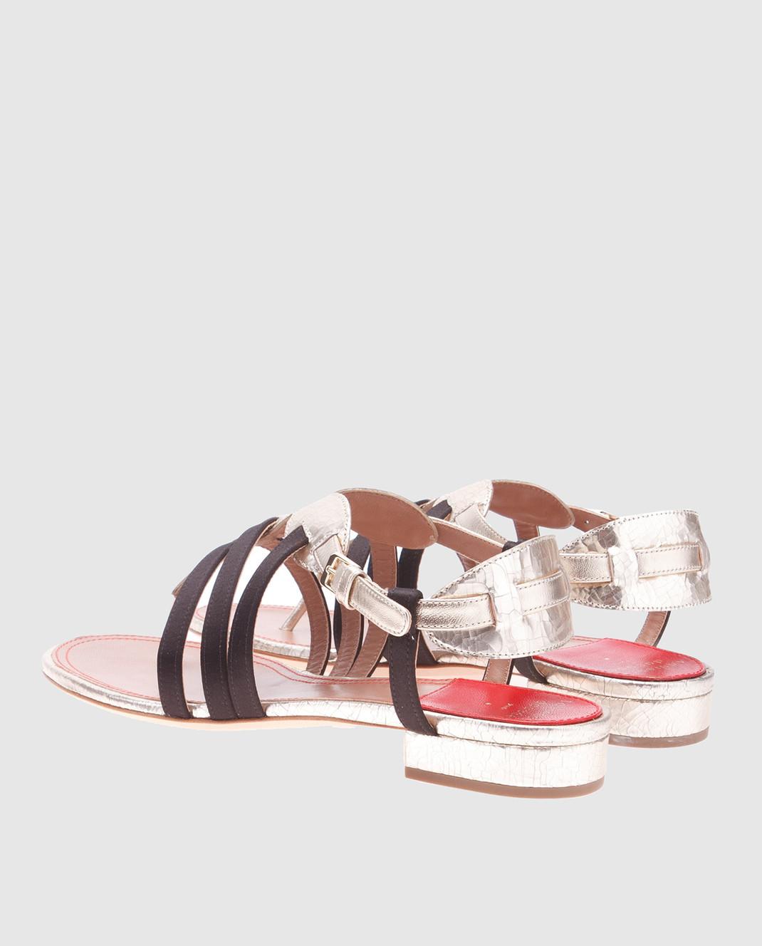 Laurence Dacade Золотистые кожаные сандалии Renin RENINCRACKED изображение 3