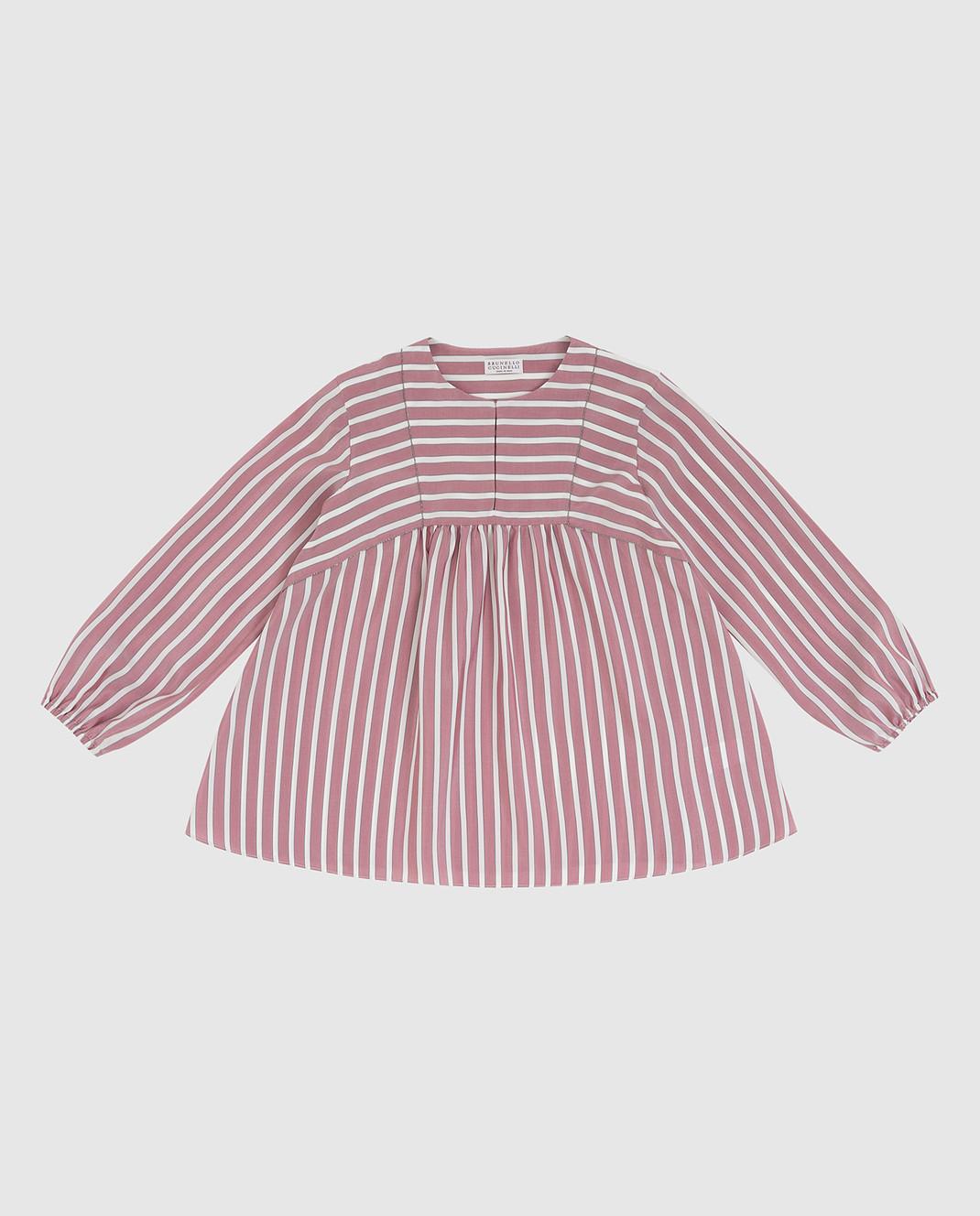 Brunello Cucinelli Детская светло-бордовая блуза из шелка изображение 1