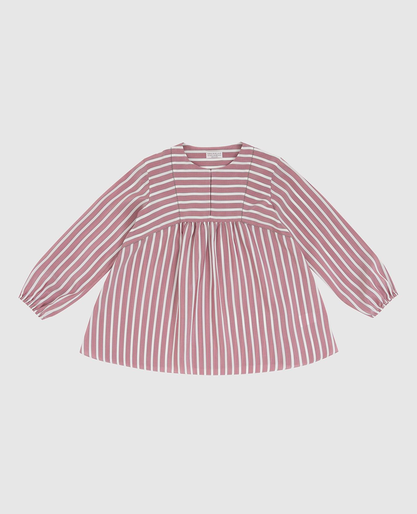 Детская светло-бордовая блуза из шелка