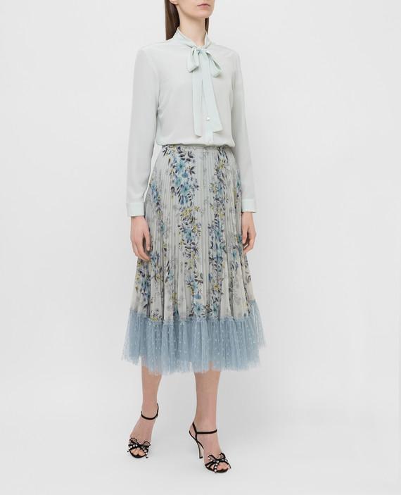 Светло-бирюзовая блуза из шелка hover