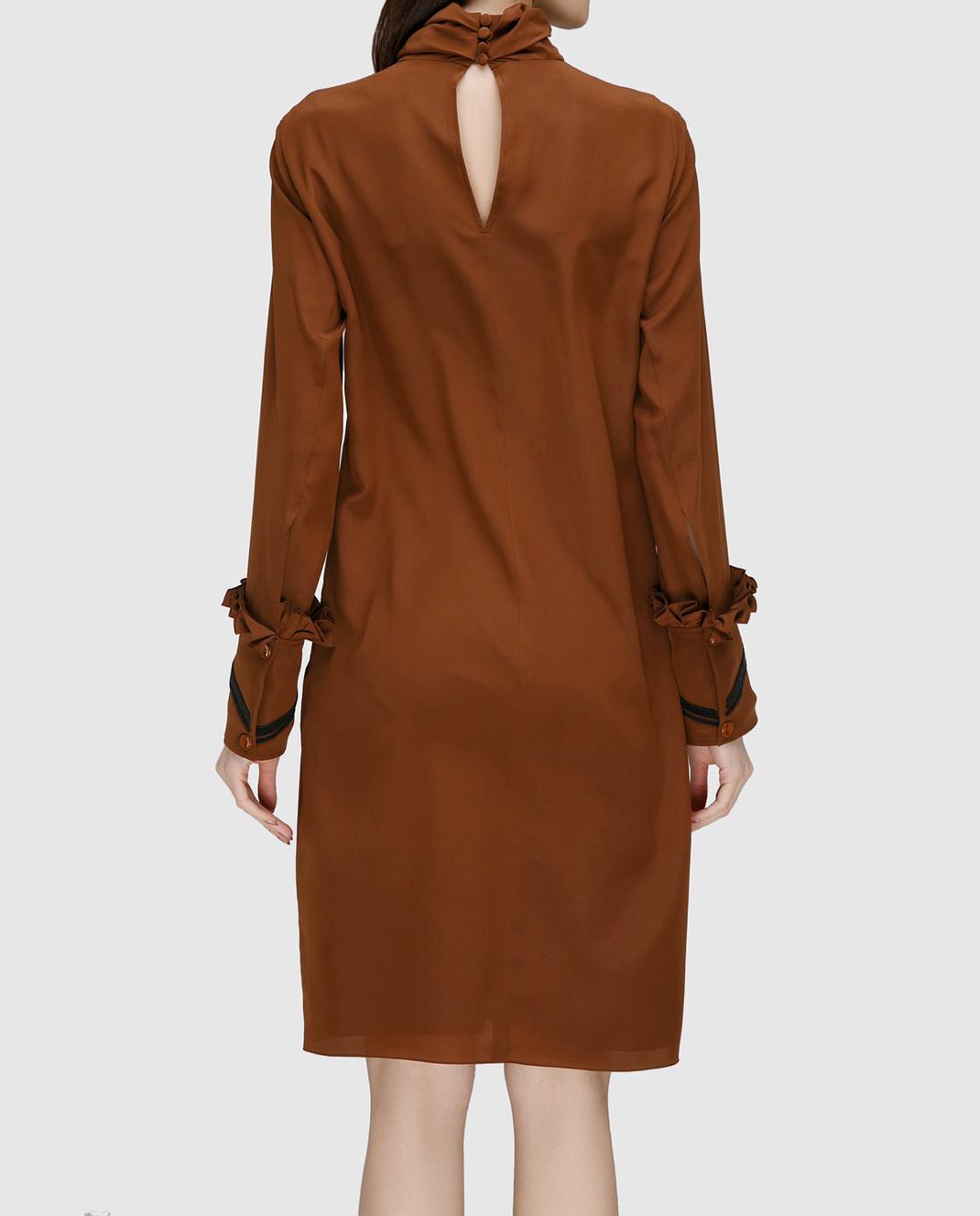 NINA RICCI Терракотовое платье из шелка 17PCRO040SE0801 изображение 4
