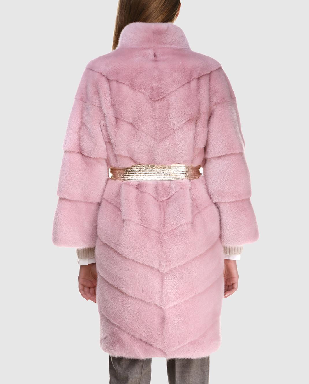 Florence Mode Розовая шуба из меха норки с поясом 18N139WHITE изображение 4