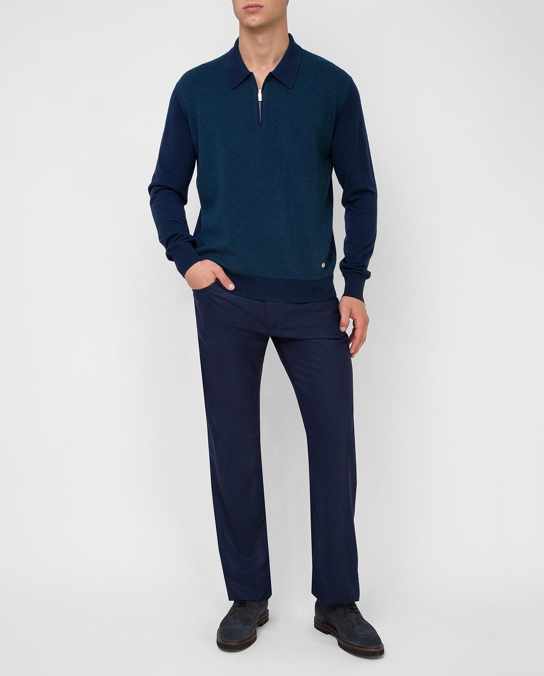 Castello d'Oro Темно-синие брюки из шерсти изображение 2