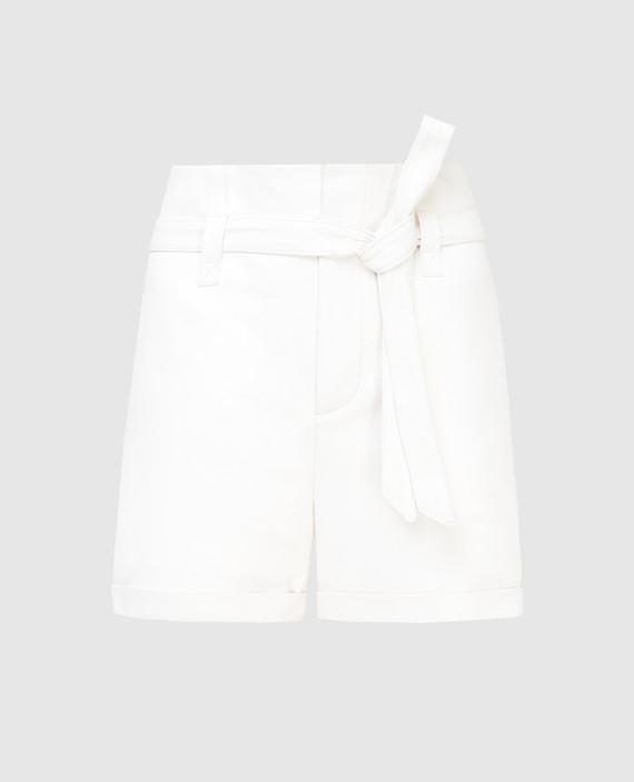 Белые кожаные шорты