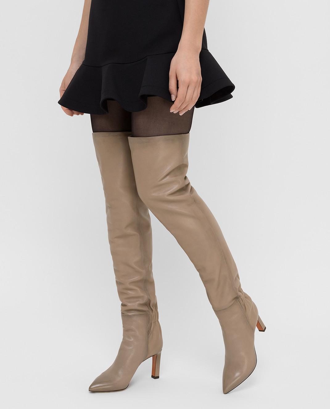 Santoni Бежевые кожаные ботфорты WSKK57445HI2CGHY изображение 2