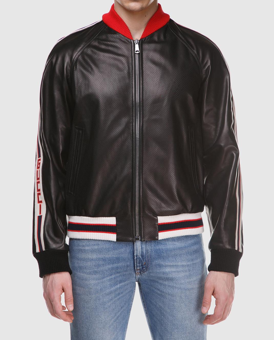 Gucci Коричневый кожаный бомбер 501174 изображение 3