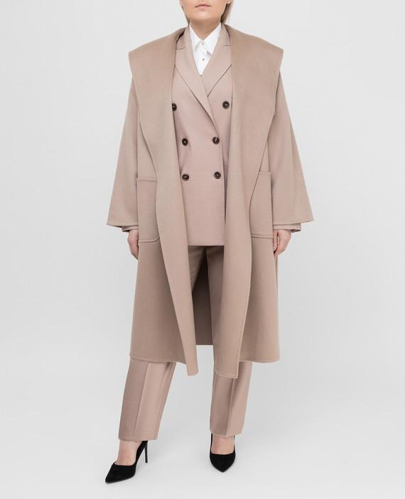 Бежевое пальто из кашемир hover