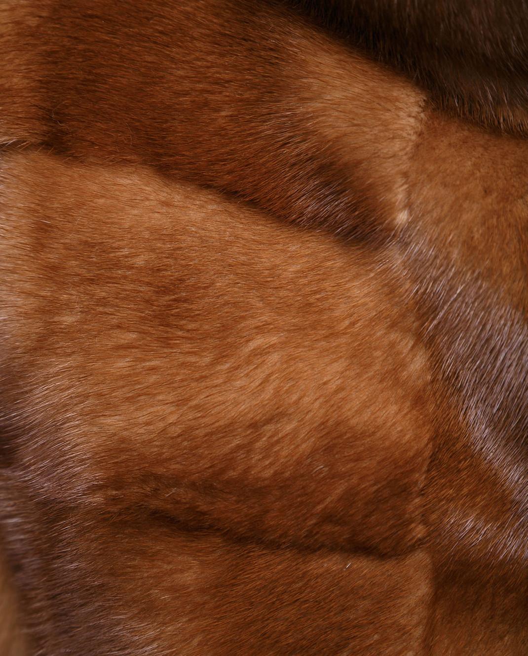 Florence Mode Коричневая шуба из меха норки с поясом и митенками изображение 5