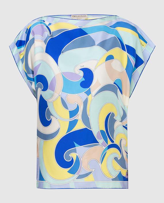 Голубая блуза из шелка