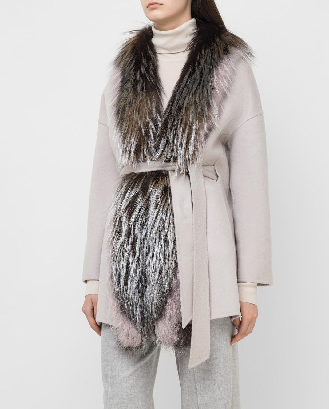 Rindi Серое пальто из кашемира с мехом лисы 298TE017 изображение 3