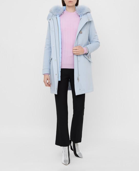 Голубое пальто из шерсти hover