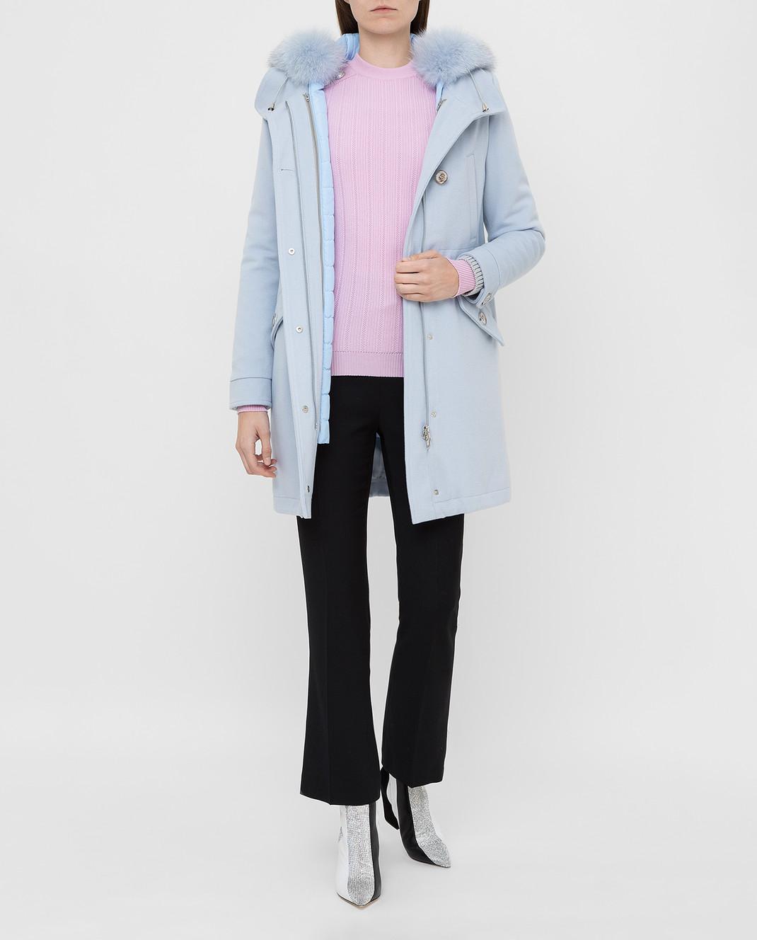 Heresis Голубое пальто из шерсти P1290VO изображение 2