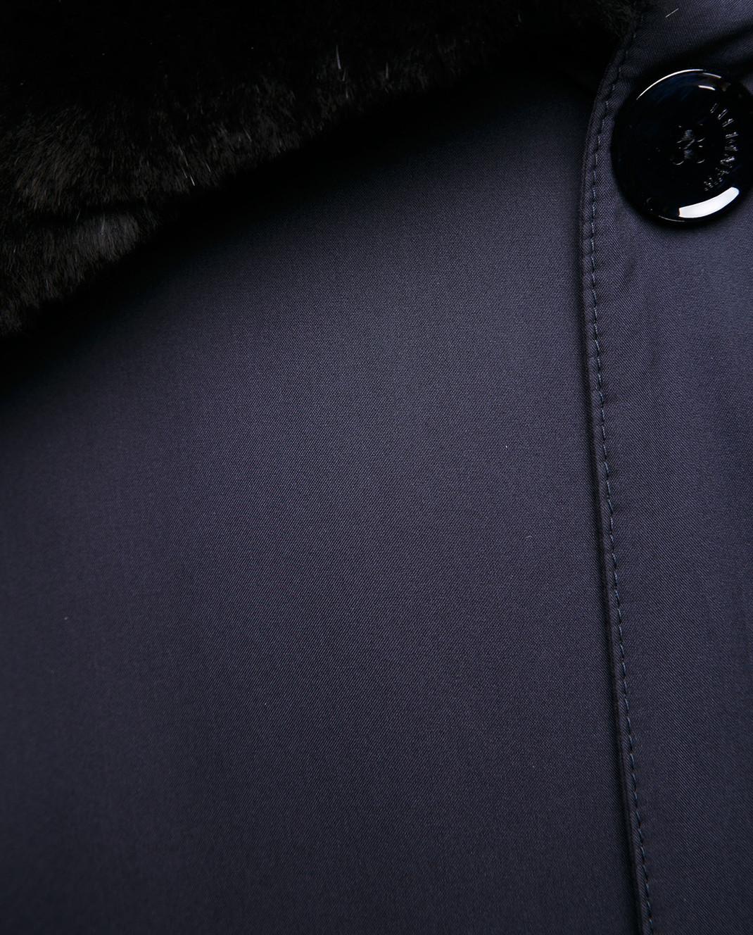 Enrico Mandelli Синее пальто из шелка со съёмным воротником из меха нутрии A6T766 изображение 5