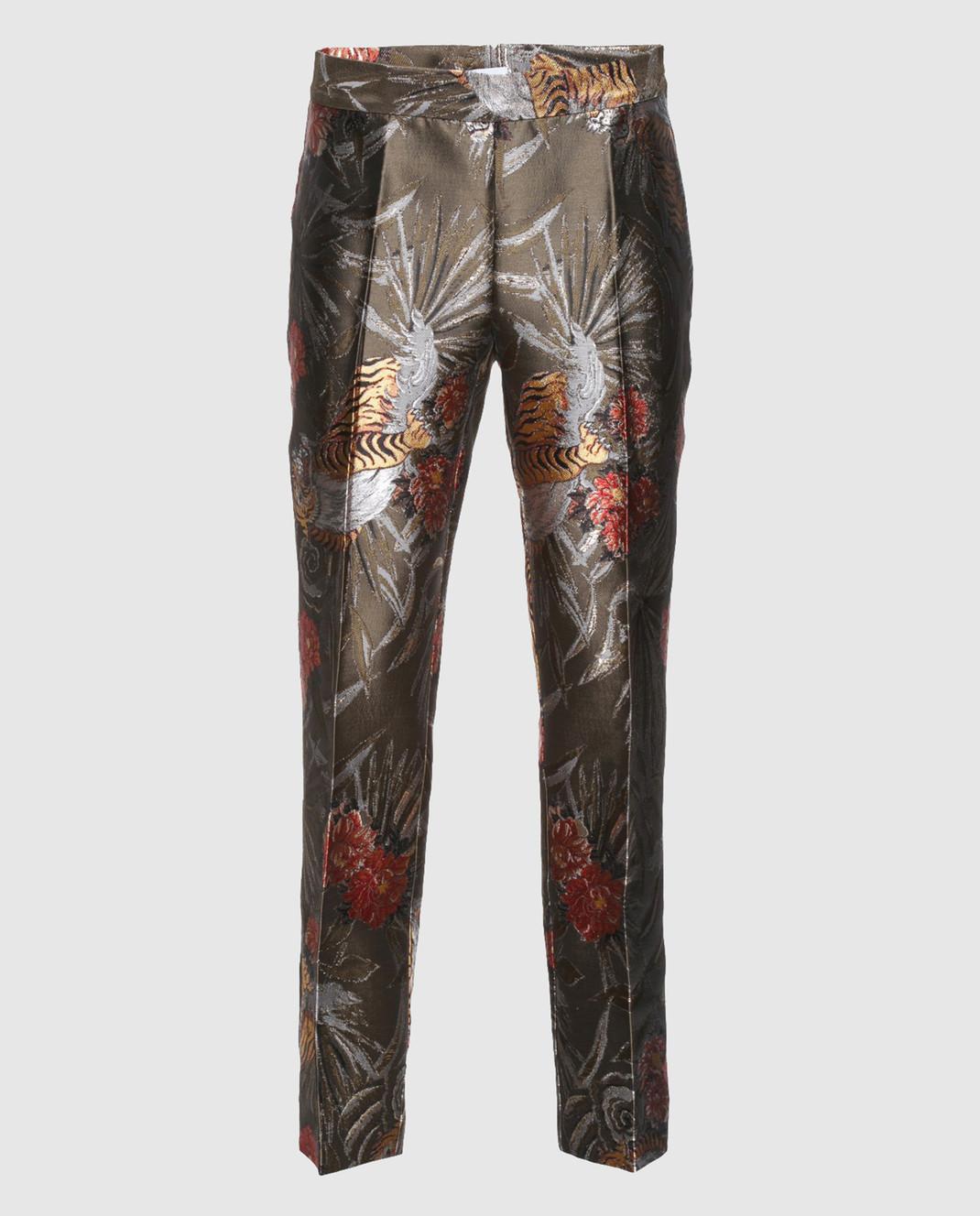 PAROSH Оливковые жаккардовые брюки D230049