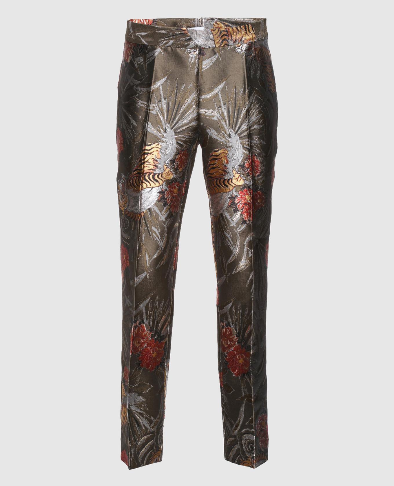 Оливковые жаккардовые брюки