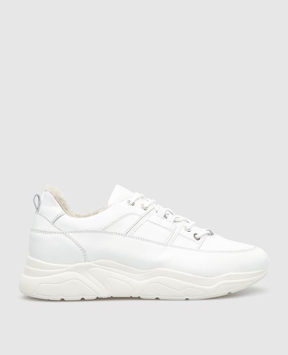 Белые кожаные кроссовки на меху