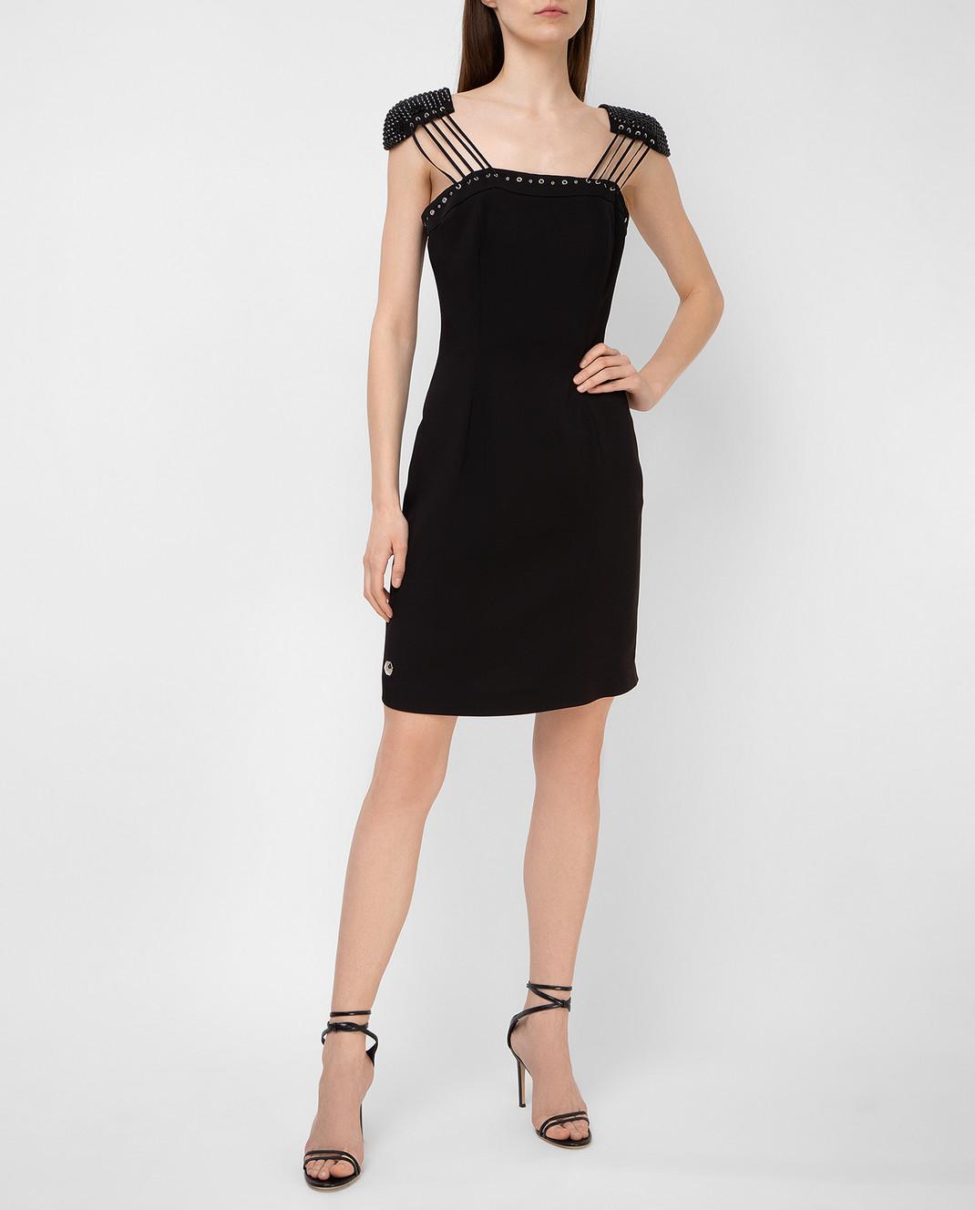 Philipp Plein Черное платье с кристаллами CWRG0060 изображение 2