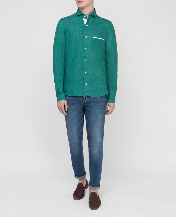 Зеленая рубашка из льна hover