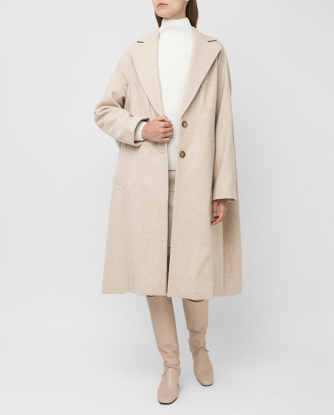 NINA RICCI Светло-бежевое пальто из шерсти изображение 2