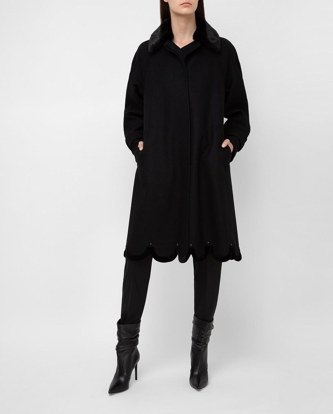 Valentino Черное пальто из шерсти с мехом норки QB3CA2Q51CJ изображение 2