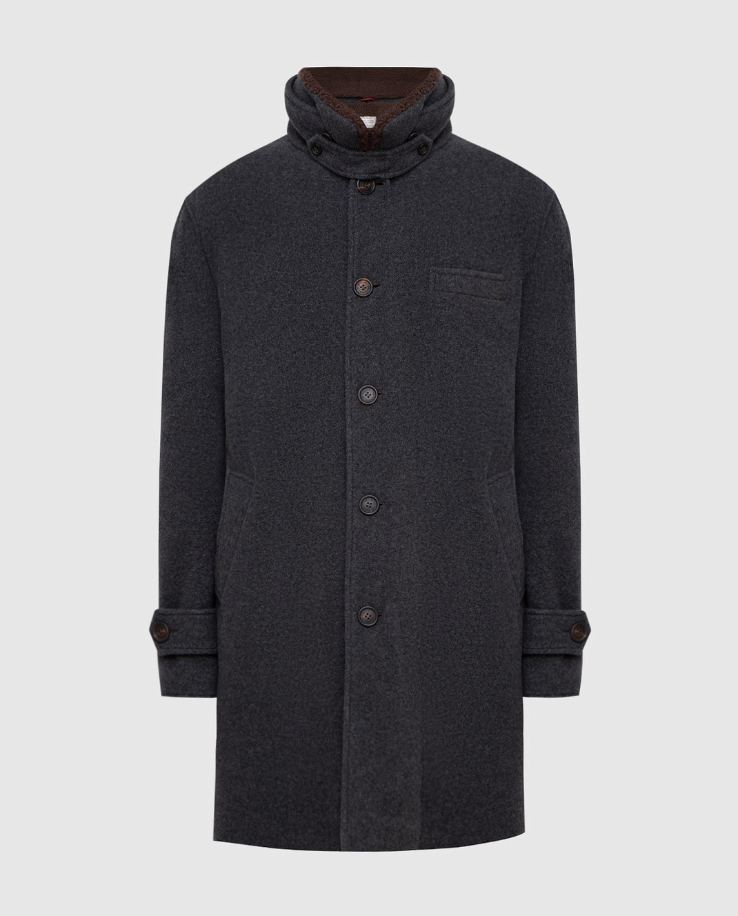 Brunello Cucinelli Серое пальто из кашемира MT4976307