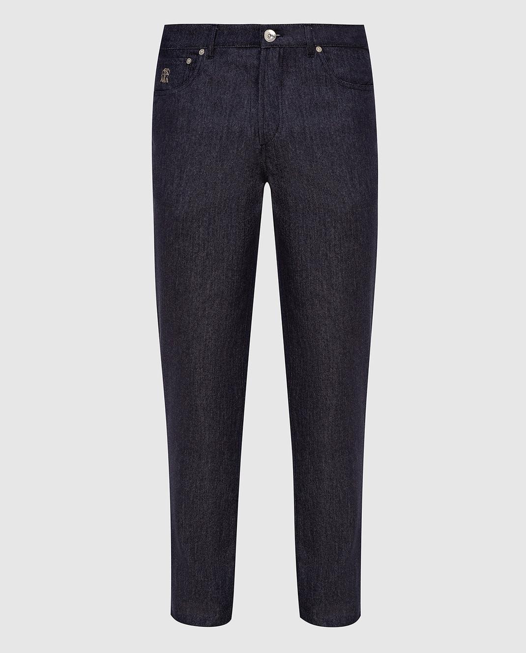 Brunello Cucinelli Темно-синие брюки из шерсти изображение 1