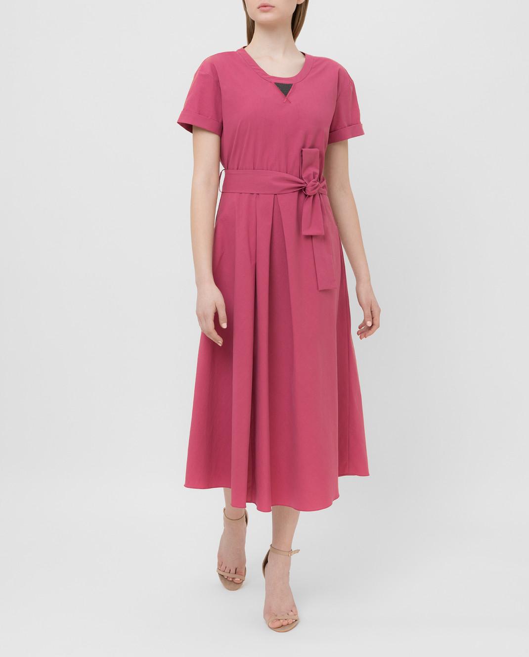 Brunello Cucinelli Розовое платье MH127ABV72 изображение 2