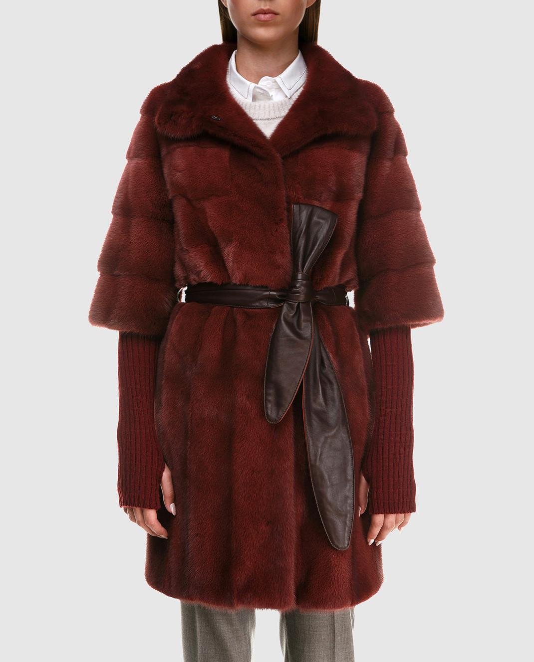 Florence Mode Бордовая шуба из меха норки с поясом и митенками 18N145SILVERBLU изображение 3