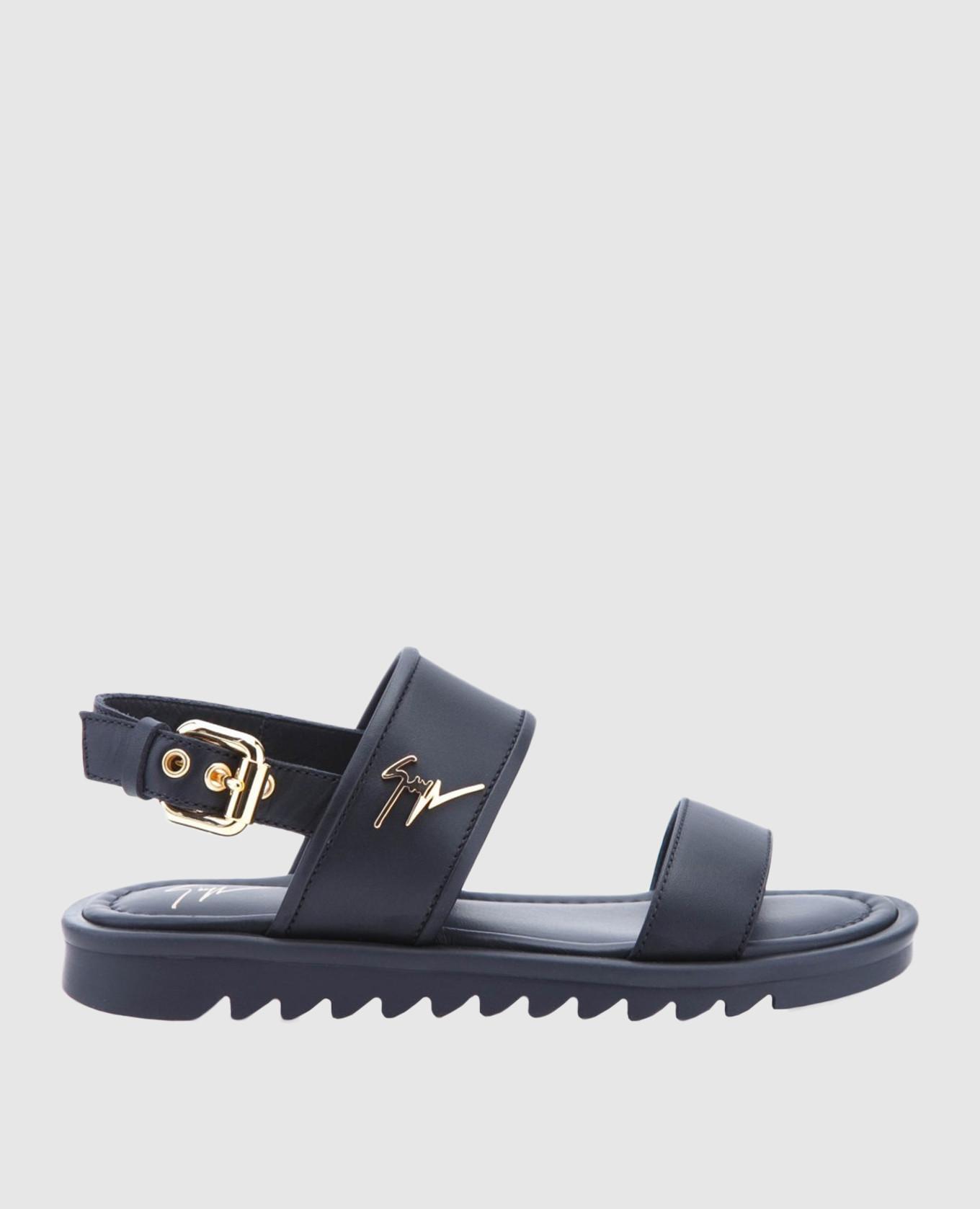 Детские черные кожаные сандалии