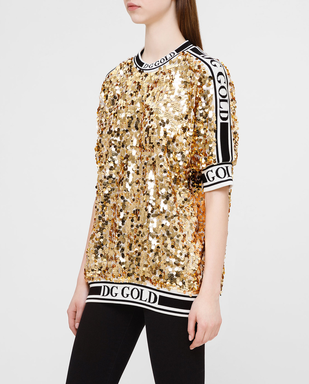 Dolce&Gabbana Золотистая футболка изображение 3