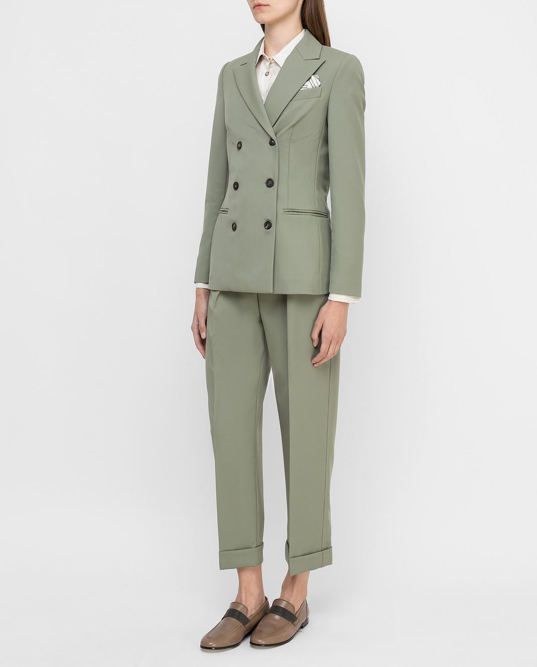Brunello Cucinelli Зеленый костюм из шерсти изображение 3