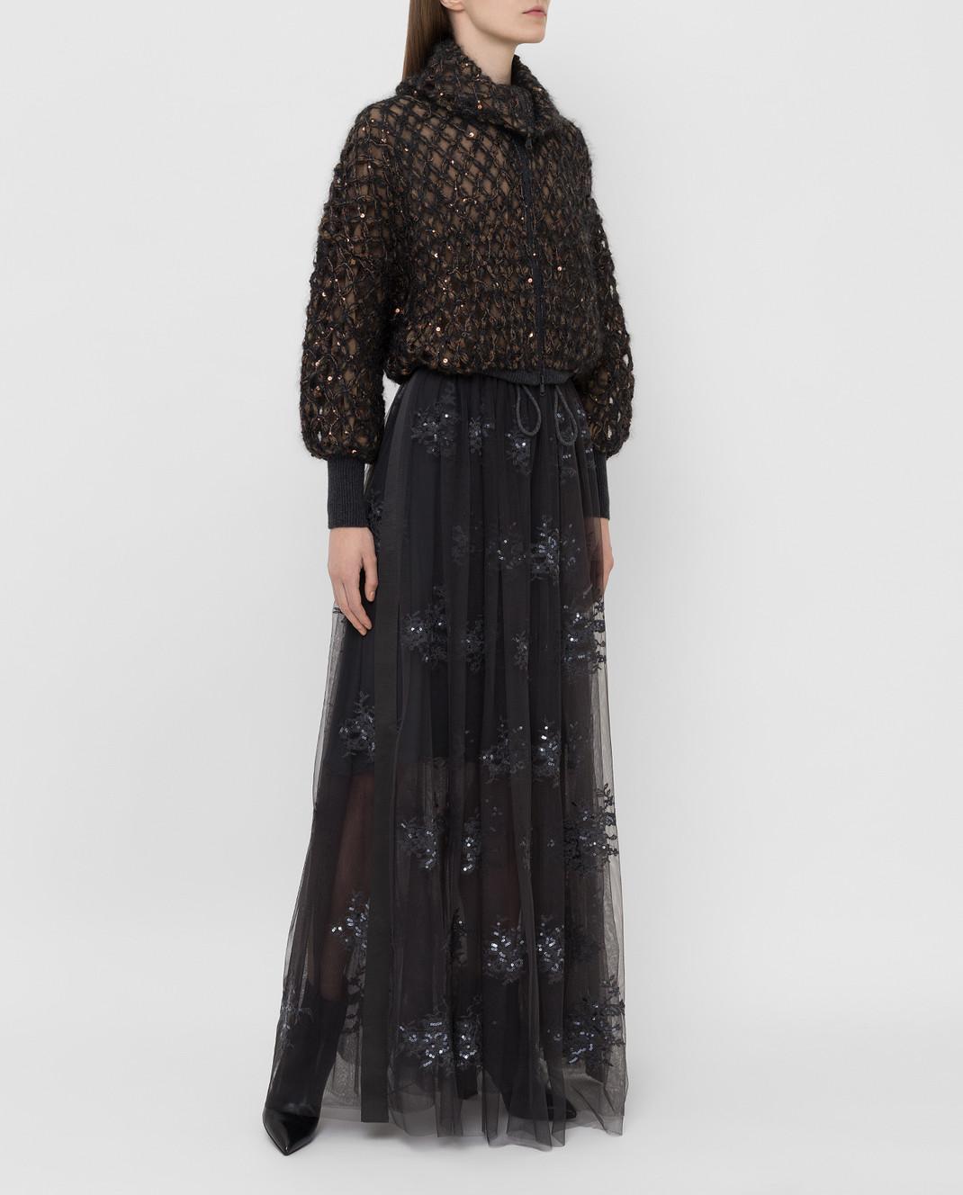 Brunello Cucinelli Темно-серая юбка MA960G2739 изображение 2