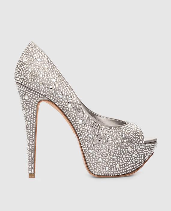 Серебристые туфли с кристаллами