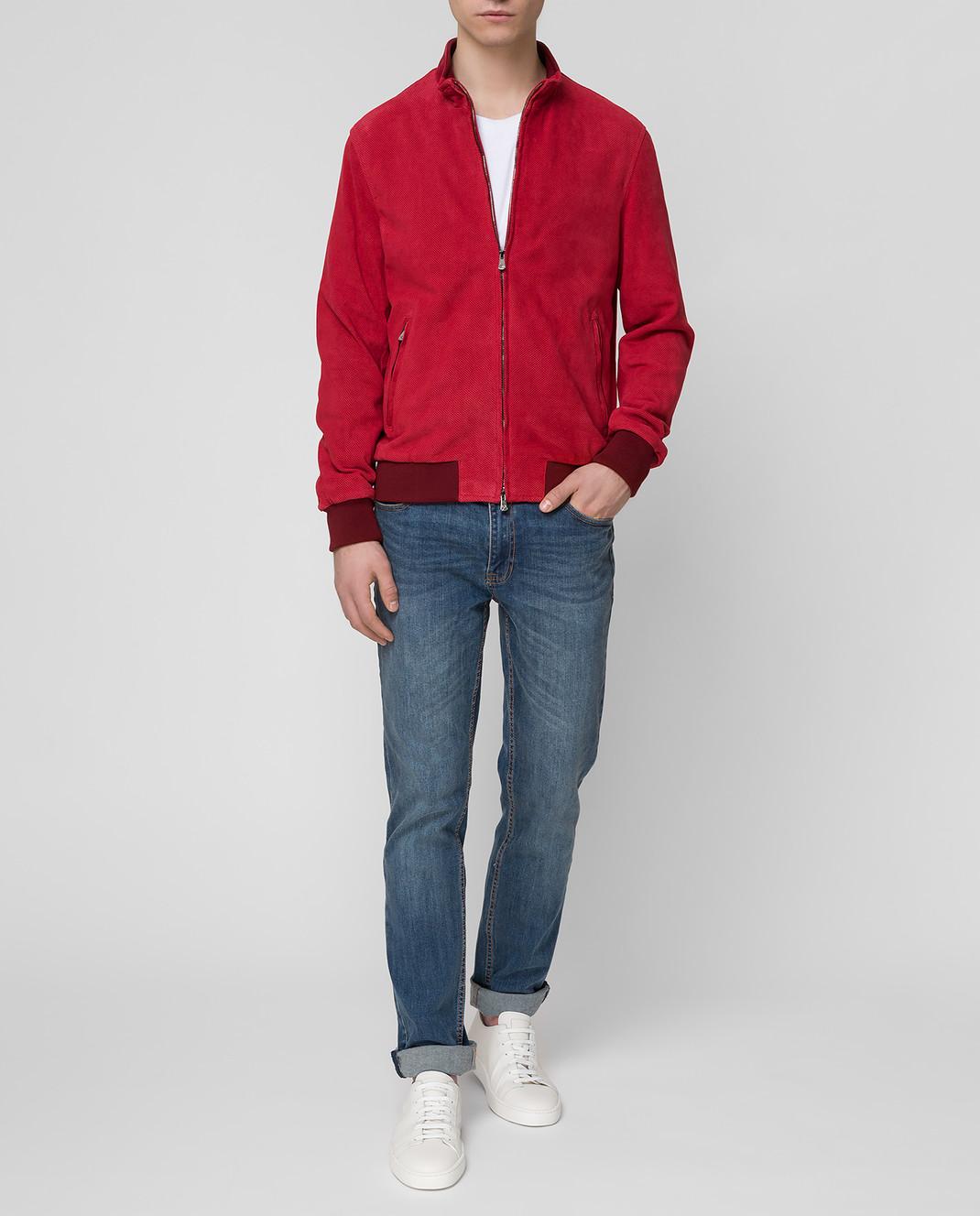 ISAIA Бордовая замшевая куртка LWT017PLW03 изображение 2