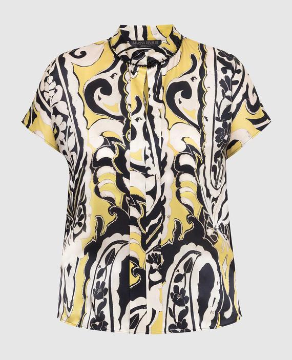 Желтая блуза из шелка