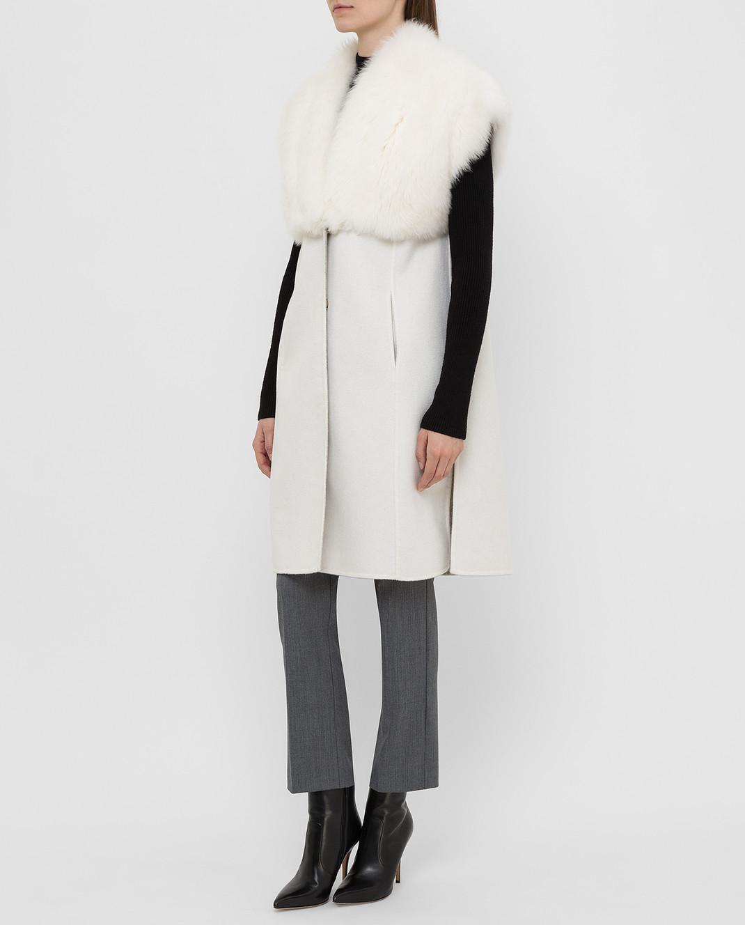Rindi Светло-бежевое пальто из кашемира с мехом 426OR0R6BIANCO изображение 3