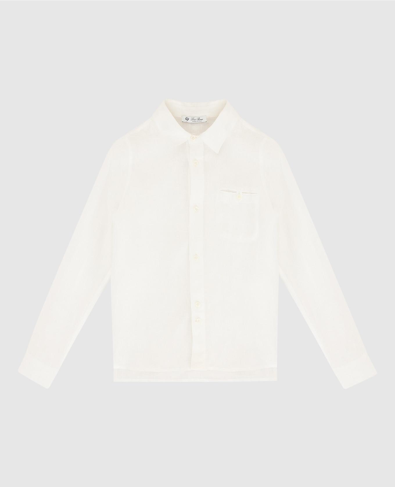 Детская белая рубашка из льна
