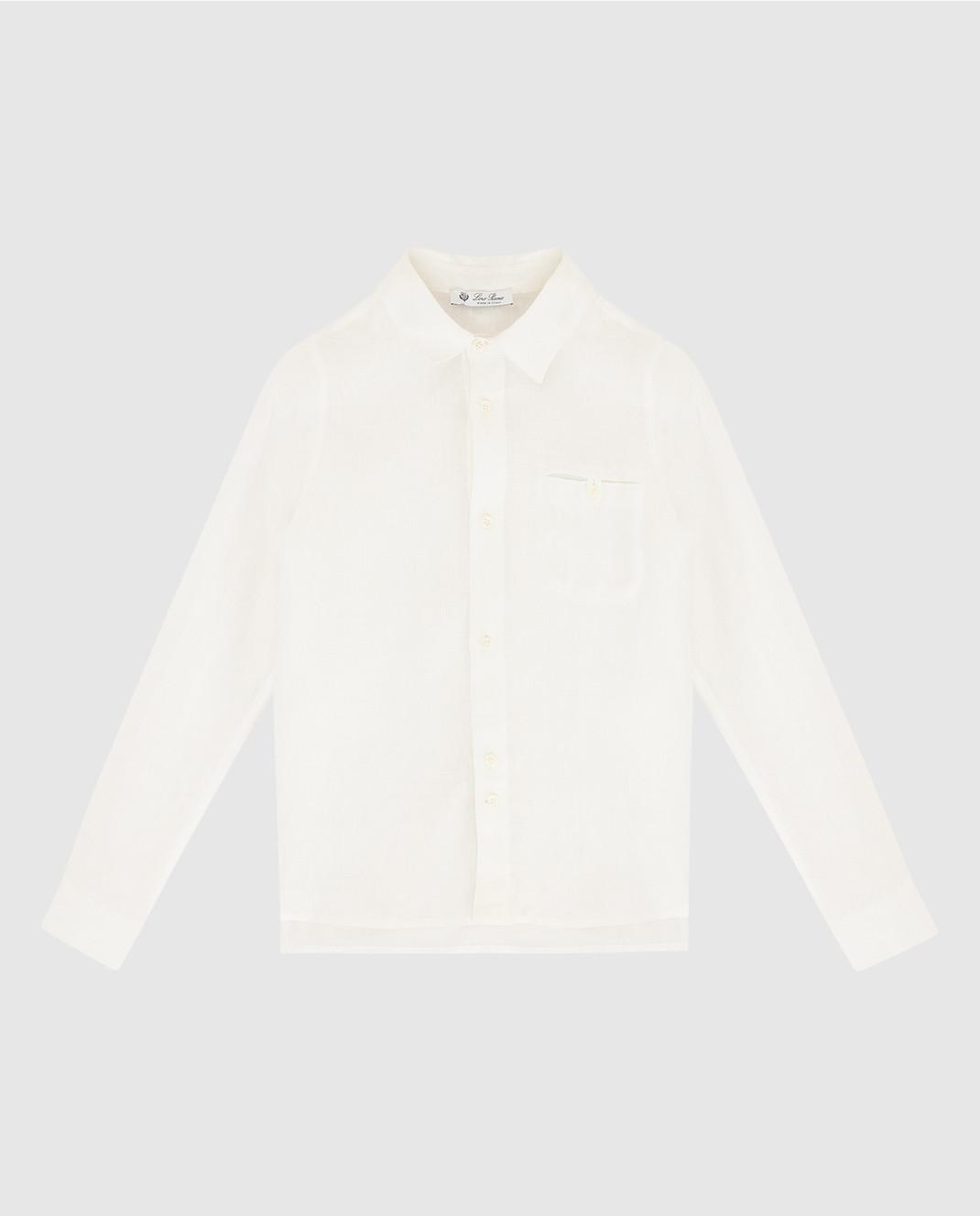 Loro Piana Детская белая рубашка из льна F1FAG1926