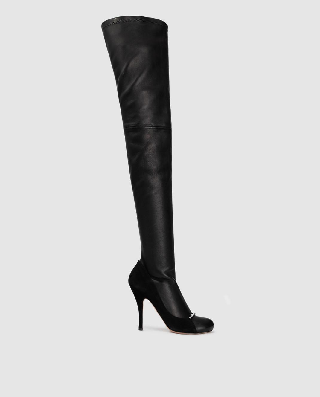 Valentino Черные кожаные ботфорты QW0S0I91PQM