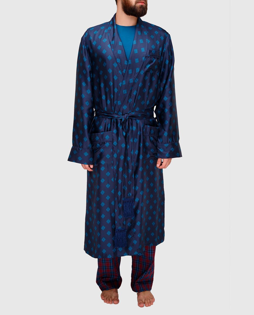 Derek Rose Темно-синий халат из шелка 5535OTIS011 изображение 3