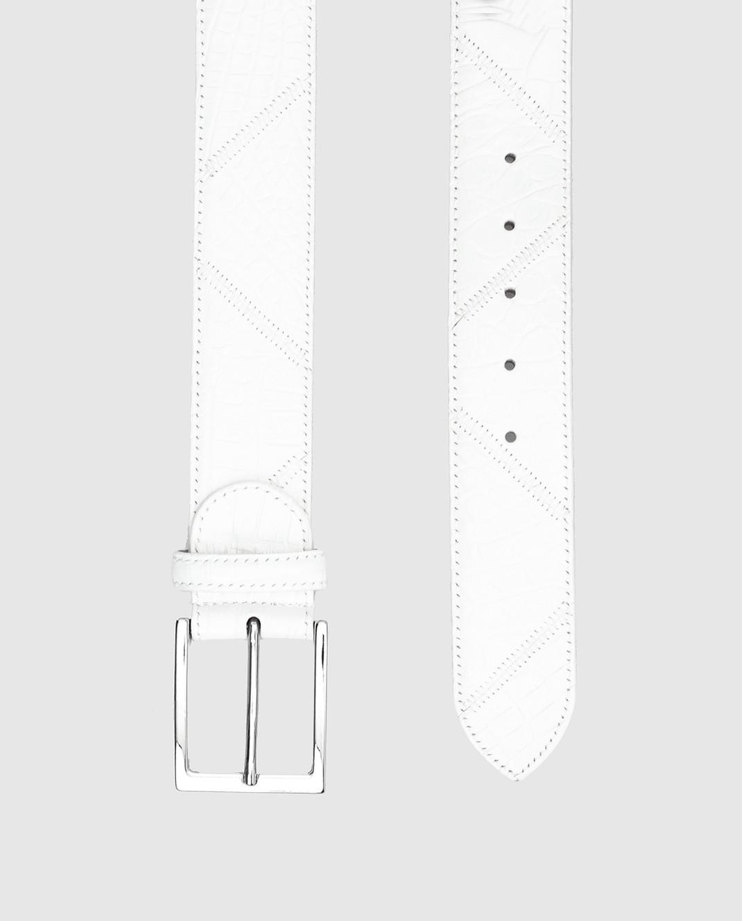Bochicchio Белый кожаный ремень BELTPATCHWORK изображение 3