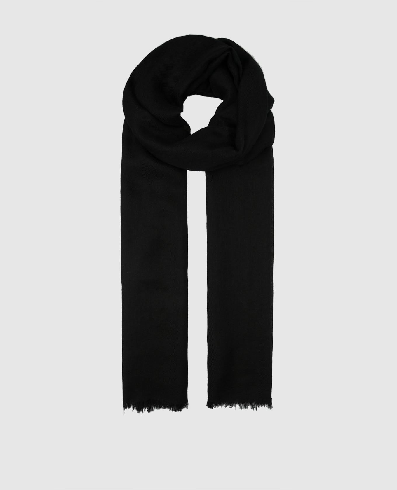 Черный шарф из кашемира и шелка