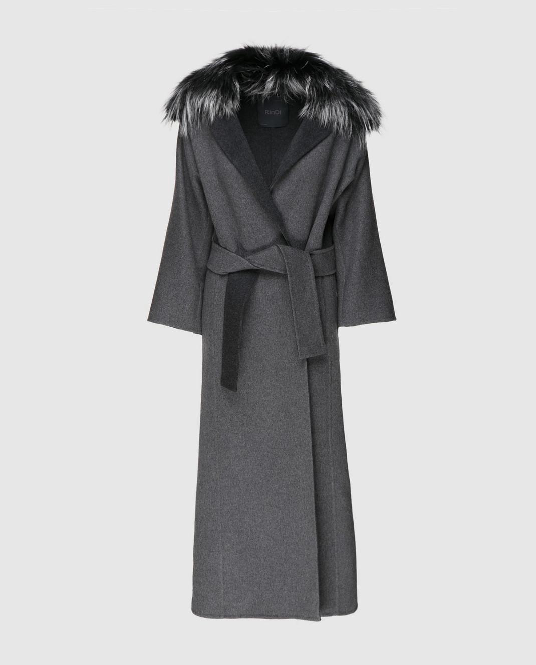 Rindi Серое пальто с мехом 261TE017