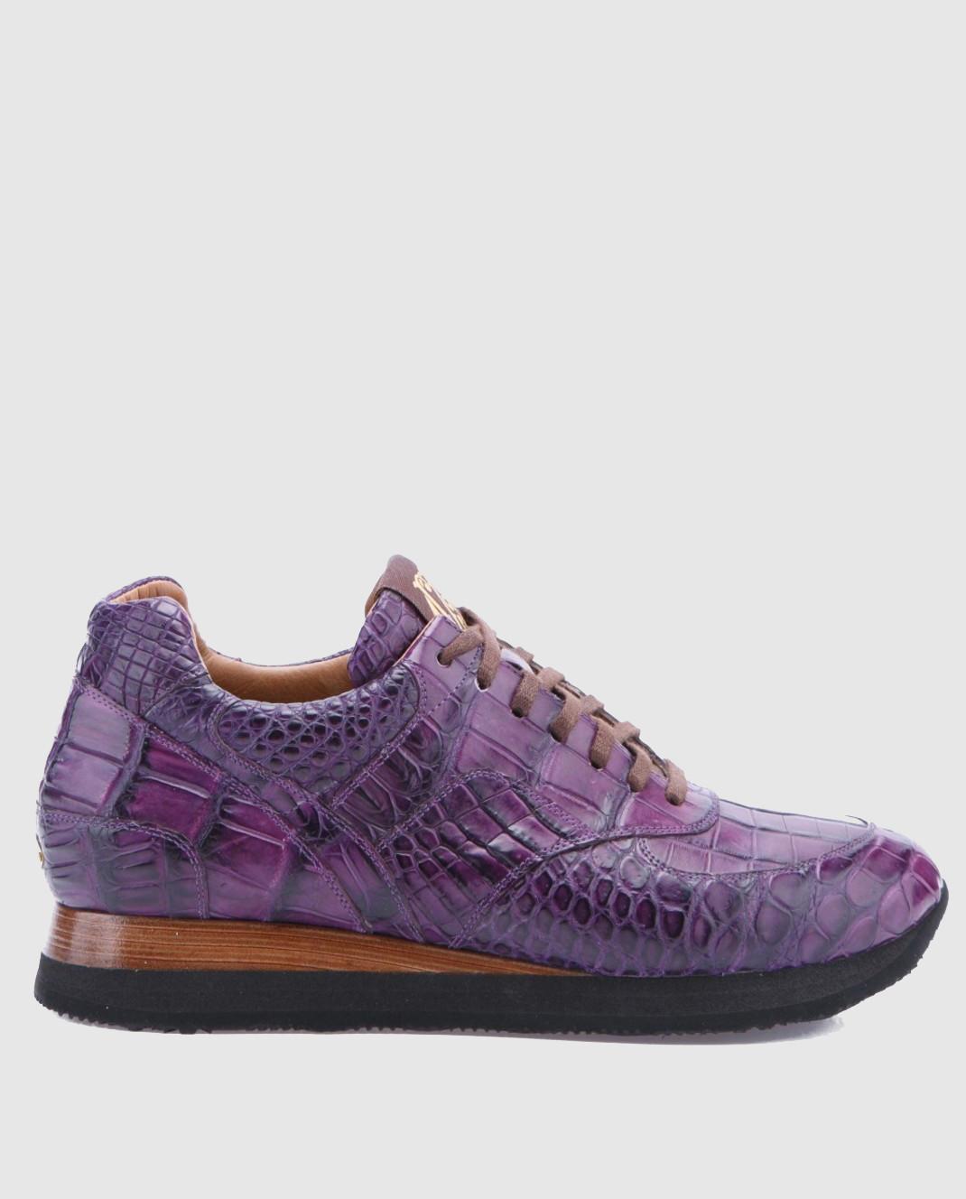 Фиолетовые кроссовки ручной работы из кожи крокодила